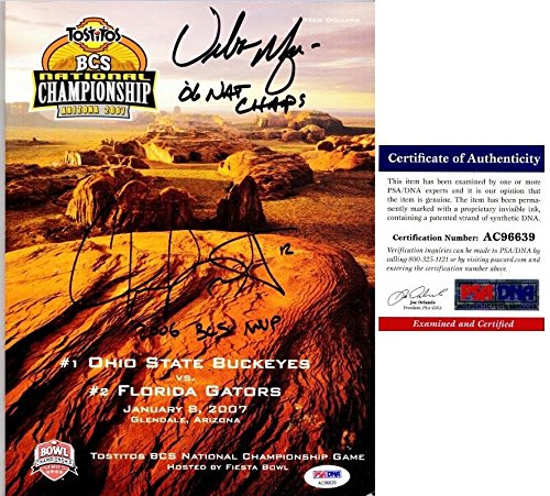 Urban Meyer and Chris Leak Signed - Autographed OFFICIAL 2006 National Championship FULL Program Florida Gators vs Ohio State Buckeyes - Certificate of Authenticity (COA) - PSA/DNA Certified