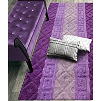 Custom Size Hallway Runner Rug, Slip Resistant, 26 Inch Wide X Your Choice of Length, Meander Lilac, 26 Inch X 8 feet