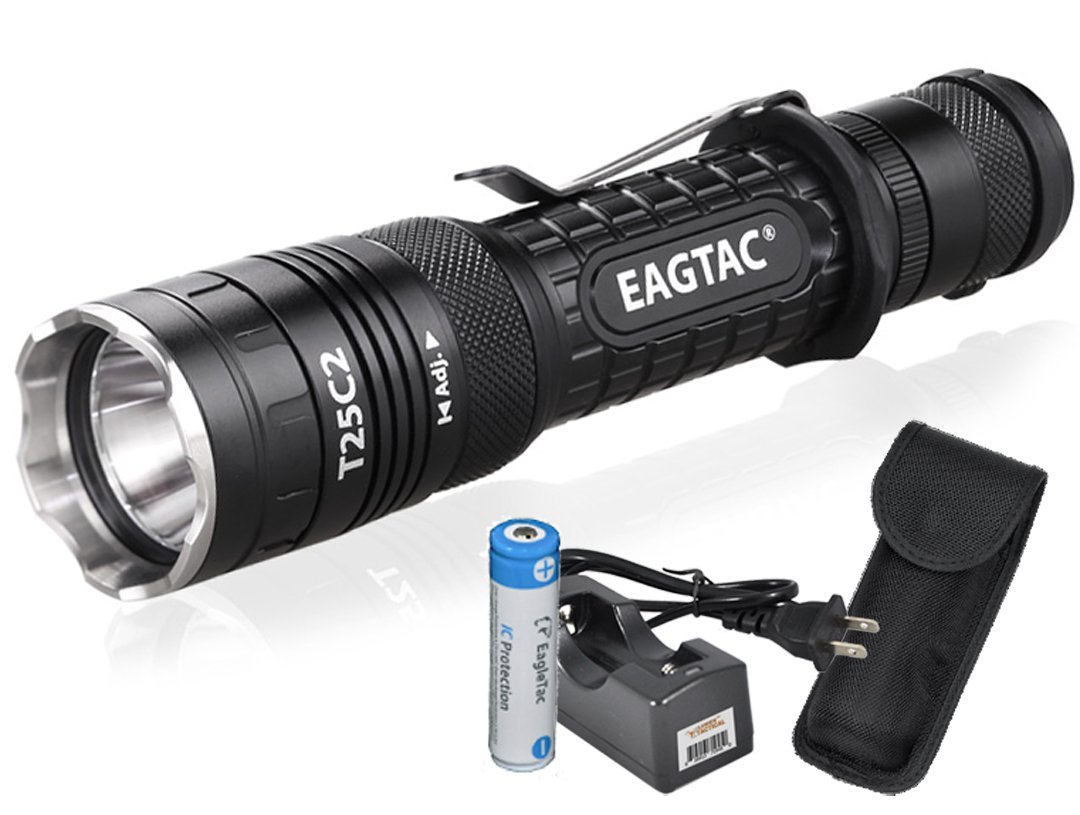 EagleTac T25C2 XP-L V5 1250 Lumens 300 Yards Rechargeable Compact LED Tactical Flashlight with Eagletac Rechargeable Battery and LumenTac Charger