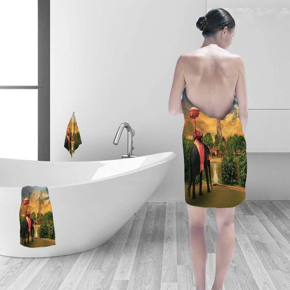 Printsonne Premium 100% Cotton Bath Towel Elephant Dressing with Thai Kingdom Tradition Accessories Pagoda in Ayuthaya Soft Cotton Durable