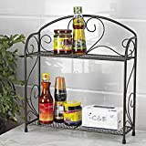 VANRA Spice Rack Kitchen Countertop Spice Stand Holder Jars Storage Organizer Shelf Rack (Black, 2 Tier)