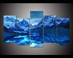 5 pannello Stampato pittura Chile Patagonia Tela Stampa arte Home Decor Wall Art immagine per soggiorno-30x60cmx4pcsNo Frame