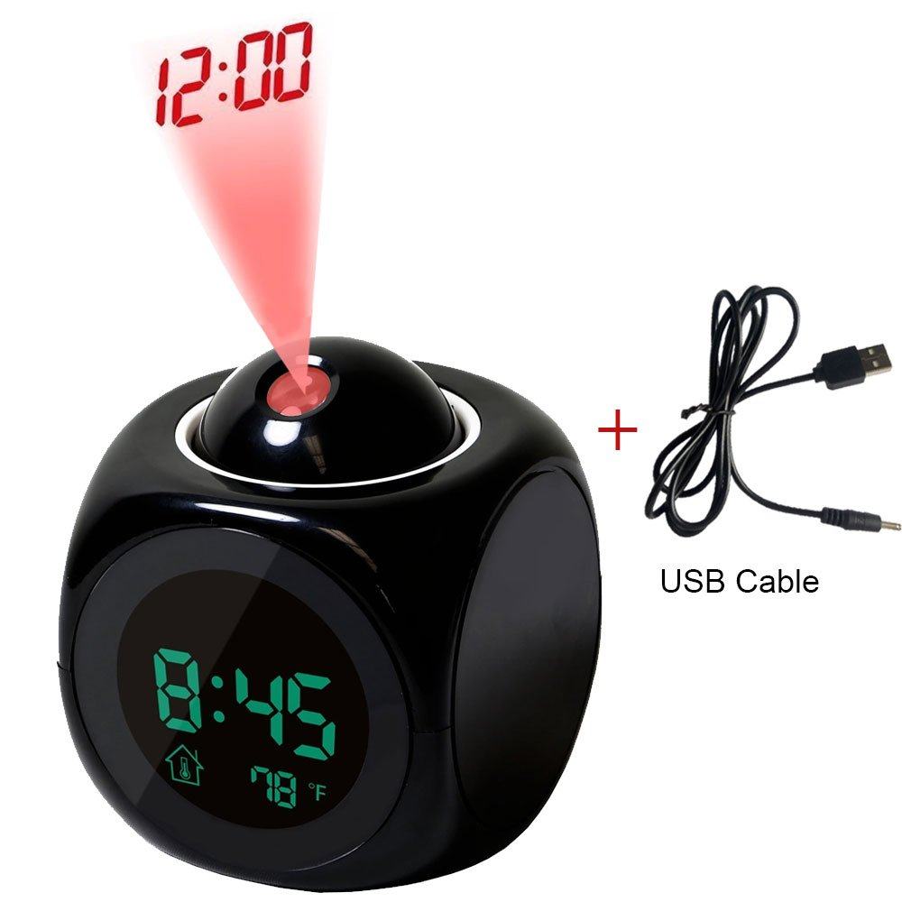 Projection Alarm Clock with Soft LED nightlight ,Snooze, Battery Backup, Auto Time Set, Sleep Timer, Indoor Time/Temperature/Day/Date Display Digital Bedside Clock (black)