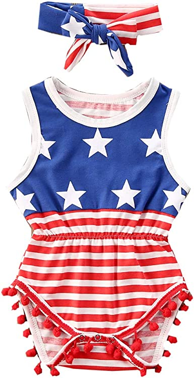 Infant Baby Boys Girls Outfits American Flag Pattern Romper Jumpsuit Clothes