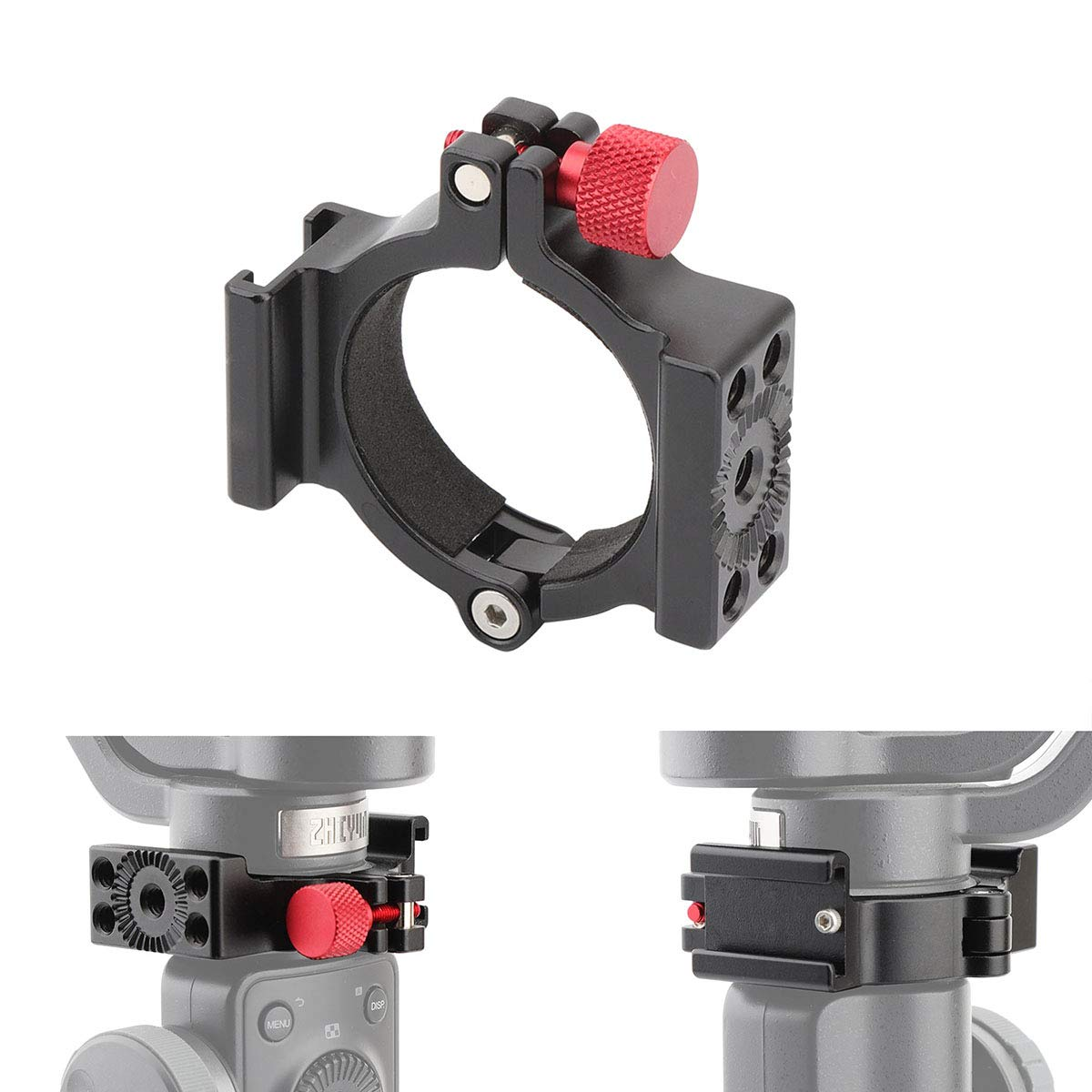 AFVO Ring Clamp with Cold Shoe for Zhiyun Smooth 4 Applied to Rode Microphone LED Light, Anti-Scratch (New Version) by AFVO