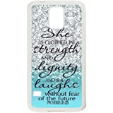 SamSung Galaxy S5 SV Case -Samsung Galaxy S5 SV Case Cover - She is Clothed with Strength & Dignity She Laughs without Fear of the Future Proverbs 31:25 - Bible Verse Blue Sparkles Glitter Samsung Galaxy S5 SV TPU (Laser Technology) Case Rubber Sides Shell
