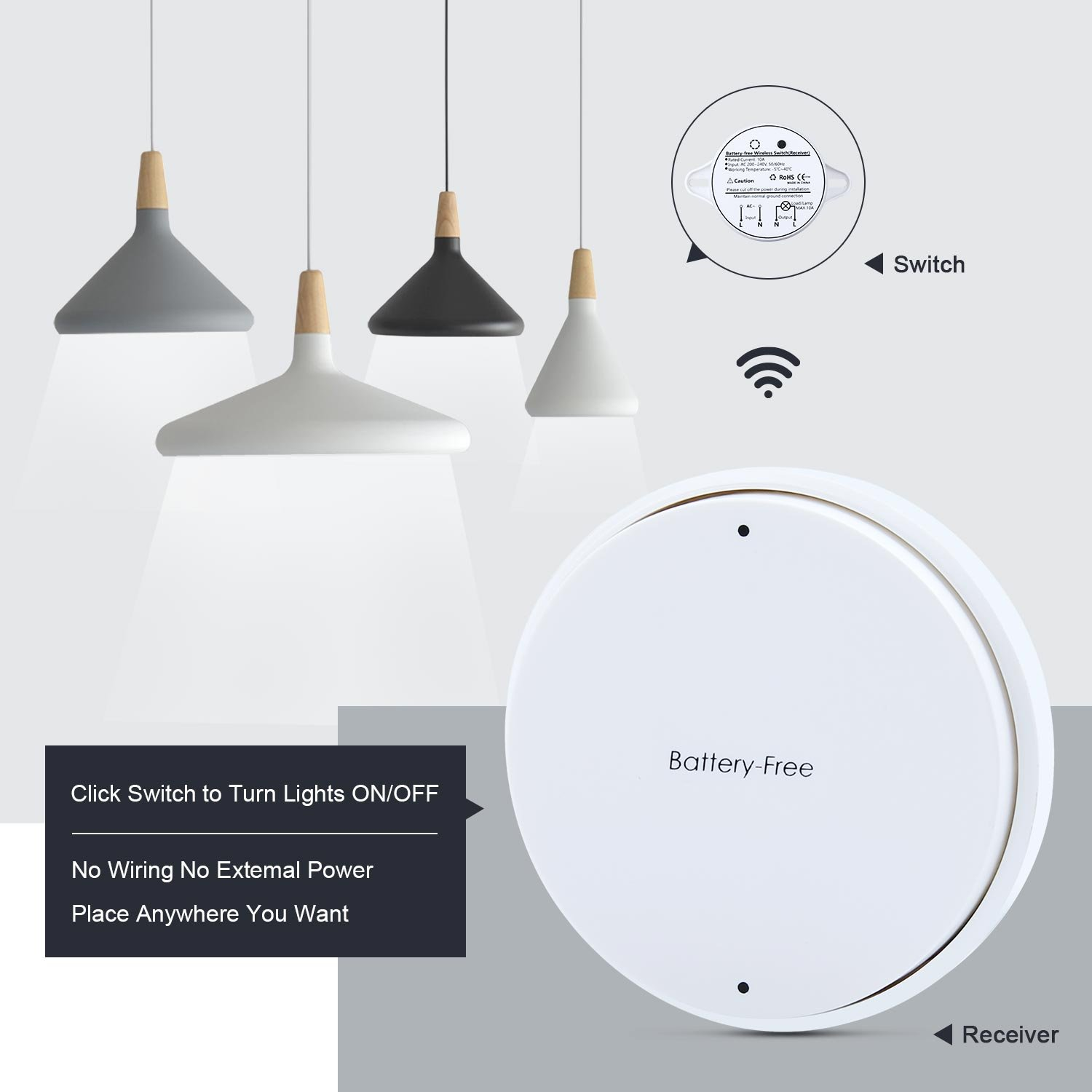 Light Switch Remote Control Wireless Kit No Battery Self Ceiling Wiring Powered Switches For Smart Home