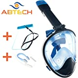 ABTECH Snorkel Mask Full Face – Gopro Compatible - 180 Degree Panoramic View - Anti Fog – Anti Leak Dry Top Waterproof Technology – Includes a Waterproof Phone Case and a Nose Clip