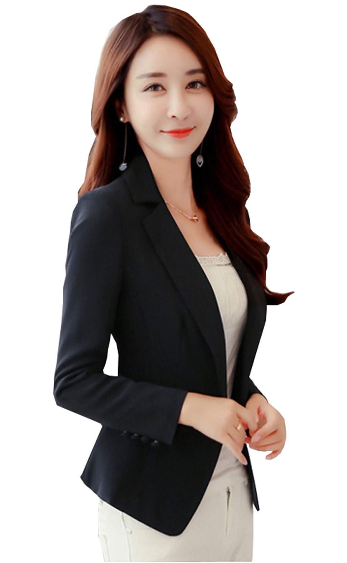My Wonderful World Women's Candy Slim Lapel Office Blazer Work Blazer tag Asian Medium(US 2) Black