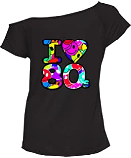Disco Dancer Retro Hot ladies off the shoulder T Shirts hen or Fancy Dress Party