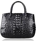 PIJUSHI Top Handle Leather Handbags Crocodile Embossed Leather Satchel Bag For Women (22201 Black)