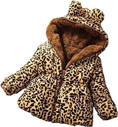 Kids Girls Toddler Faux Fur Leopard Winter Hoodies Jacket Coat Outerwear Parka