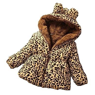 f3e9502a9ffe Amazon.com  RACHAPE Kid Girls Coat Winter Hooded Fleece Leopard ...