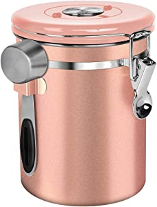 NEX Coffee Canister, Airtight Stainless Steel Storage Container with One Way Co2 Valve, Scoop and Date Tracker, Large Capacity Coffee Jar, 22oz, Rose Gold