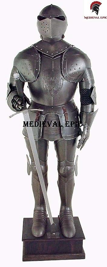 Disfraz de Caballero Medieval de Larp, Traje Negro de Armadura ...