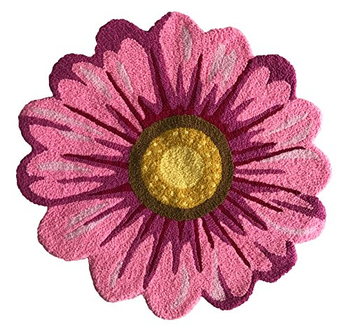 MeMoreCool Handmade Sunflower Area Rugs Bedroom/Living Room/Bathroom/Kitchen Home Decor Carpet Washable Non-Slip Mat Indoor and Outdoor Welcome Rug Pink 26 x 26 Inches ()