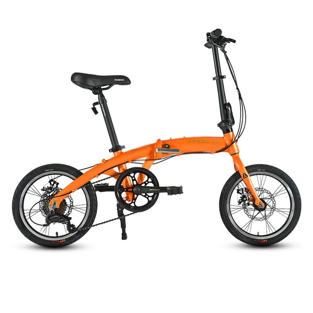 Kinderfahrräder Fahrrad Single Speed Fahrrad Kind klappfahrrad Mini Fahrrad Junge mädchen Fahrrad, Falten 16 Zoll (Farbe   Blau, Größe   16inches) Orange 16inches