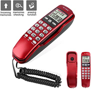 Teléfono al RAS, Montado en la Pared Mini Teléfono, Doble Llamada Sistema+Función de Devolución de Llamada+Identificación de Llamadas Entrantes, Multifunción para la Oficina en Casa del Hotel(rojo): Amazon.es: Electrónica