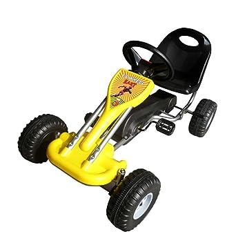 vidaXL Kart à Pédales Jaune pour Enfants Véhicule Voiture Jouet Jardin  Terrain b90a1093eb56