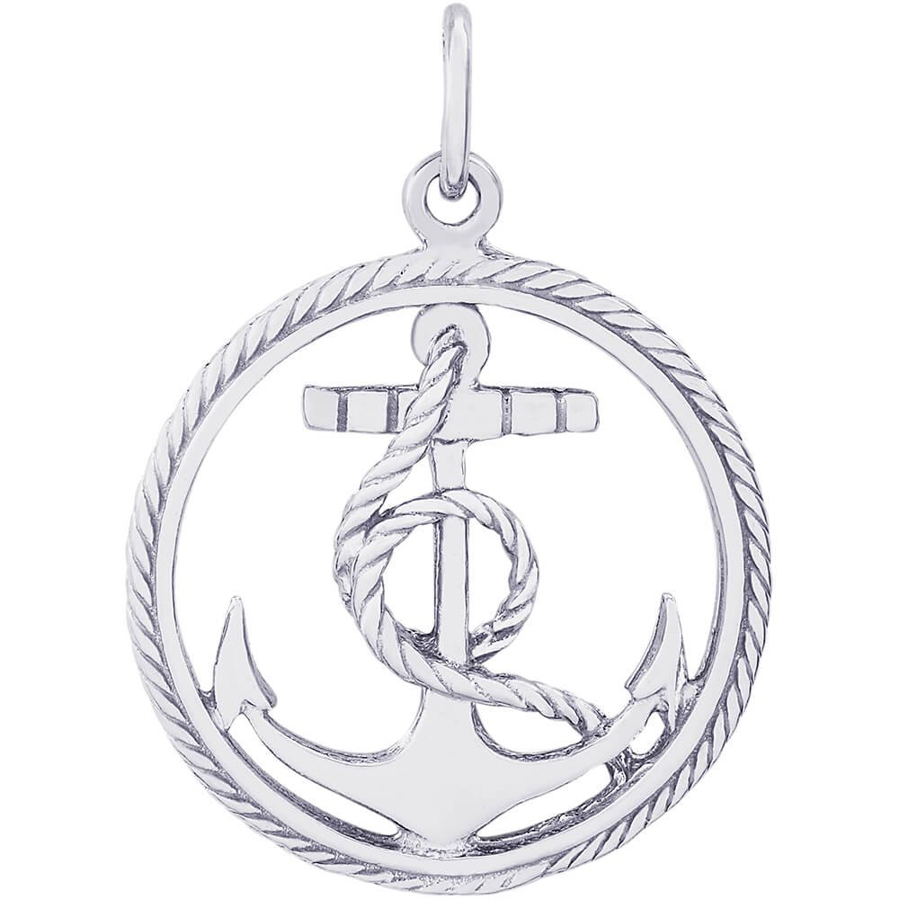 Rembrandt Charms 14K White Gold Anchor in a Circle Charm (21 x 21 mm)