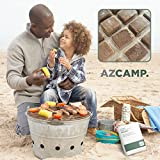 AZCAMP Natural Fire Starter Squares, Quick-Light Non-Toxic Cubes, Best for Camping, Grilling and Cooking, 32 Count