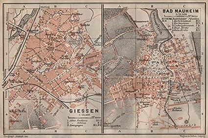 Central Germany Map.Amazon Com Baedeker Giessen Bad Nauheim Central Germany 1910