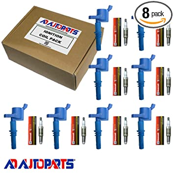 Set of 8 OEM Platinum Spark Plugs SP546 PZH14F + 8 AD Auto Parts Ignition  Coils For 2005 2006 2007 2008 Ford F150 F-150 GDG511 GD511 FD508