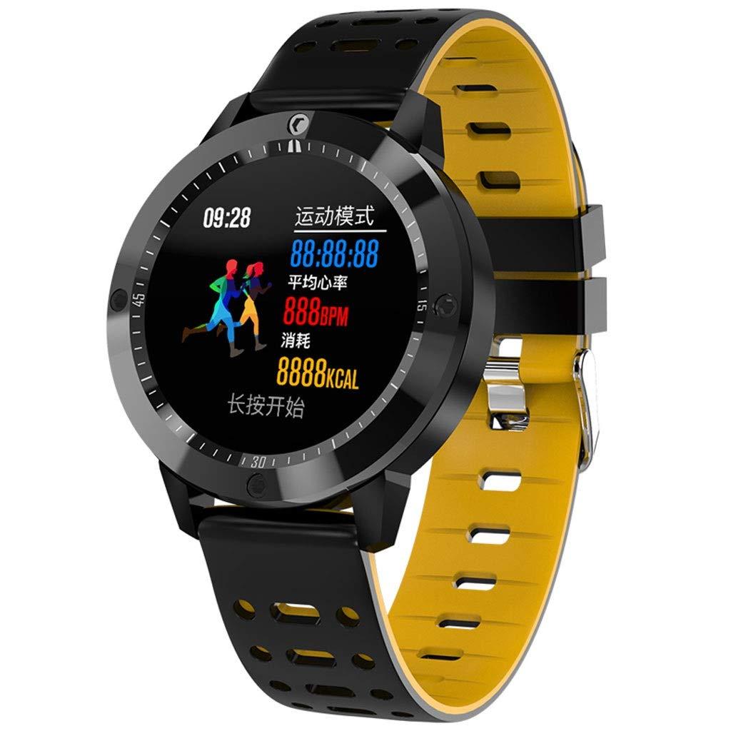 Sports Bracelet- Student Trend Waterproof Luminous Intelligent Sports Bracelet Multifunctional Electronic Sports Watch for Men and Women (Color : Yellow)
