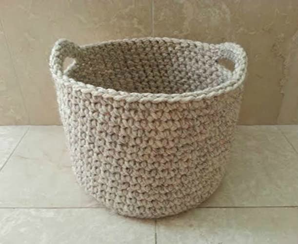 Large Crochet Decorative Storage Basket Wool Blend Contemporary Design  Handmade In USA