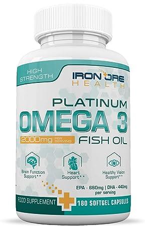 Omega 3 Dreifach starkes Fischöl   2000mg, 660 EPA 440 DHA pro Portion   180 Premium Genfreies, Glutenfreies Softgel   Herges