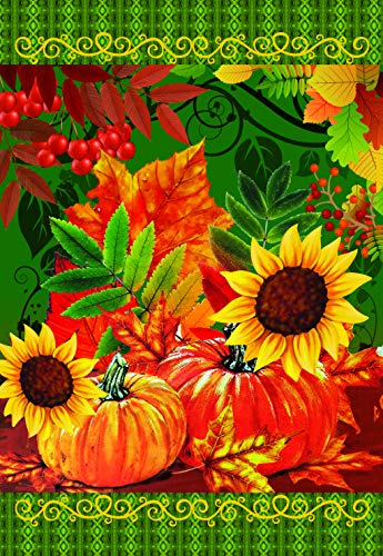 Lantern Hill Sunflowers Pumpkins and Leaves Garden Flag; Double Sided; 12.5 x 18 inches; Seasonal Decorative Banner ()