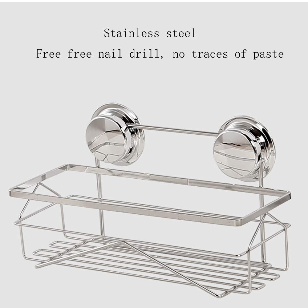 Sink Caddy with Strong Suction Cups-Small Sponge Holder Made of Coated Metal-Compact Soap Holder for Bathroom Sink or Kitchen Sink, stainless steel by Guoqing (Image #3)