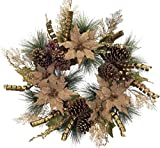 Set of 2 Burlap Poinsettia and Pine Cone Decorative Artificial Christmas Wreaths 28'' - Unlit