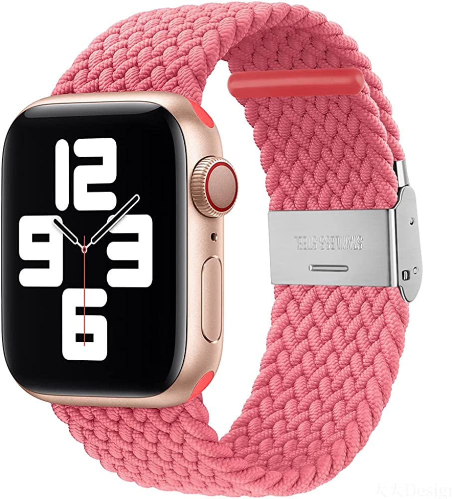 PROATL Sport Braided Solo Loop Strap Compatible With Apple Watch Band 44mm 40mm 38mm 42mm for Men and Women, Breathable Soft Wristband Stretchy Nylon Elastic Belt Bracelet for iWatch Series SE 6 5 4 3 2 1