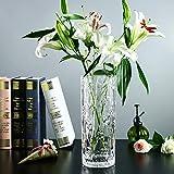 ITOMTEガラスフラワーベース クリアガラス花瓶 シンプル花器 北欧風花瓶 ガラスボトル 水栽培 インテリア飾り 北欧雑貨 母の日 プレゼント大きい花瓶20cm(円形ハート柄)