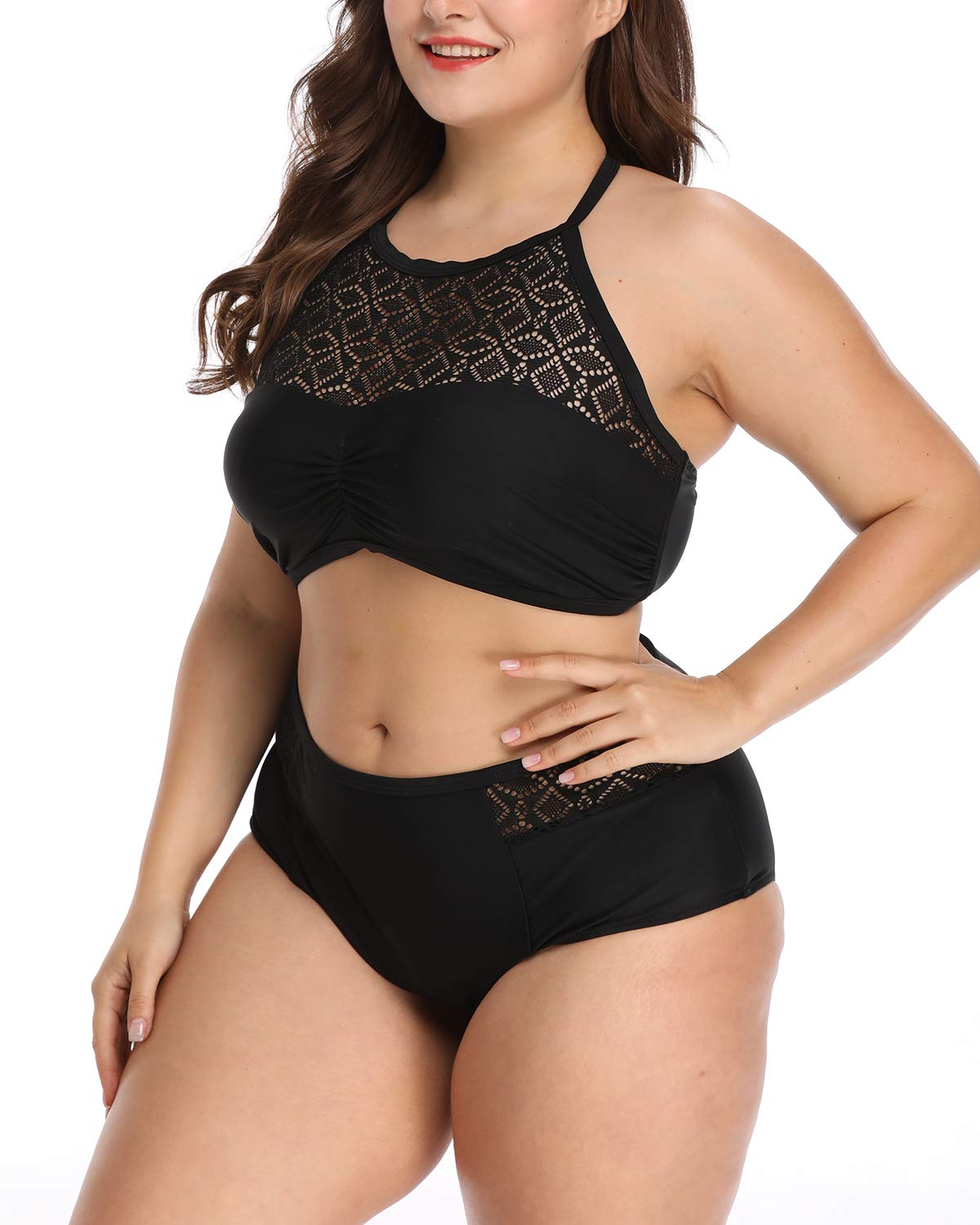 Wavely Woman Two Piece Plus Size Vintage Lace Halter Bikini Top with Triangle Briefs Bottoms L