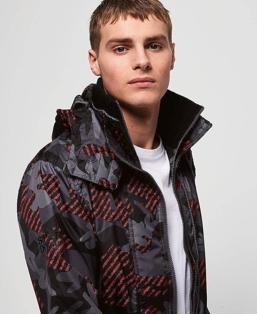 New Mens Superdry Mens Tech Hooded Print Pop Zip Sd-Windcheater Jacket Navy
