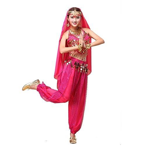 Danza Trajes Ropa de Danza Danza del vientre Disfraz Conjunto India Danza Top Danza India Lentejuela...
