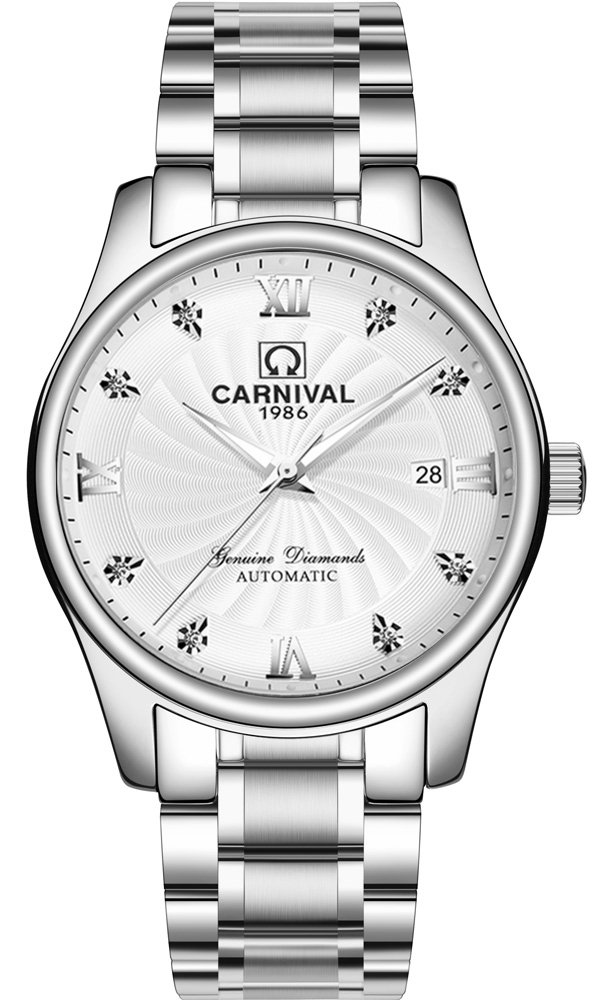 CARNIVAL Mechanical Couple Watches Men and Women His or Hers Gift Set of 2 (White) by Carnival (Image #2)