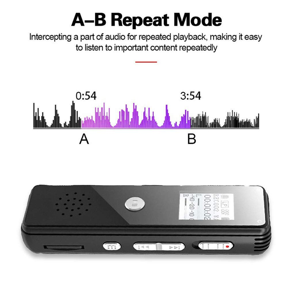 lectures Digital Voice Recorder Music Dictaphone MP3 Player with Microphone Voice Activated Recorder 8GB with Rechargeable Specified Time Voice Recording for Meetings