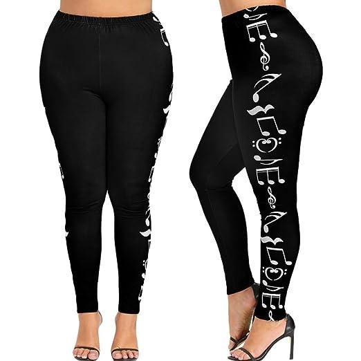 b7641e5e898 Sameno Fashion Women High Waist Plus Size Yoga Sport Pants Music Note Printed  Leggings Trousers Activewear