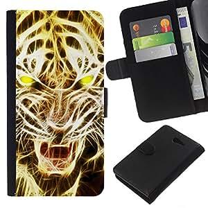 - ART LIGHT LION YELLOW FIRE TIGER ROAR - - Prima caja de la PU billetera de cuero con ranuras para tarjetas, efectivo desmontable correa para l Funny House FOR Sony Xperia M2