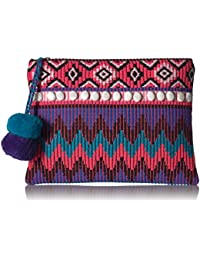 'ale by alessandra Women's Purple Reign Tribal Clutch With Moonstones and Poms