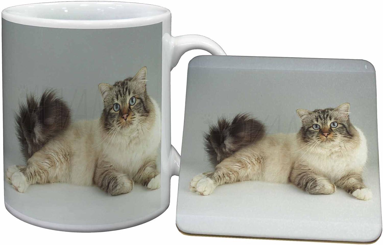 Advanta Group Tabby Birman Cat Mug+Coaster Christmas//Birthday Gift Idea