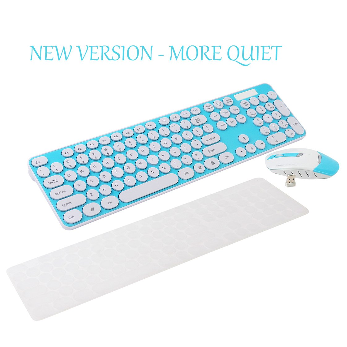 Wireless Keyboard and Mouse Combo, 2.4GHz Cordless Cute Round Key Set Smart Power-saving Whisper-Quiet Slim Combo for Laptop, Computer,TV and Mac (Blue)