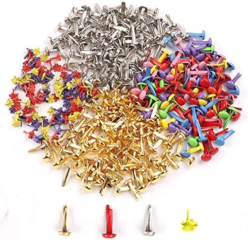 Mixed Size Style Color Metal Paper Brass Paper Fasteners Pastel Brads for Art Crafting School Project Decorative Scrapbooking DIY Supplies BESTCYC 1Box 240pcs