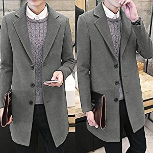 GOVOW Long Coat Fall Men Keep Warm Windbreaker Cotton Outwear Warm Wool Slim Jacket Trench
