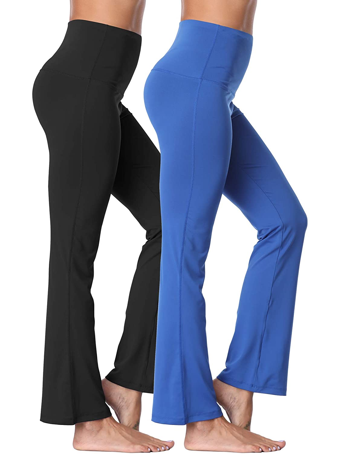 106  Black blueee, 2 Pack XX-Large Neleus High Waist Running Workout Leggings for Yoga with Pockets