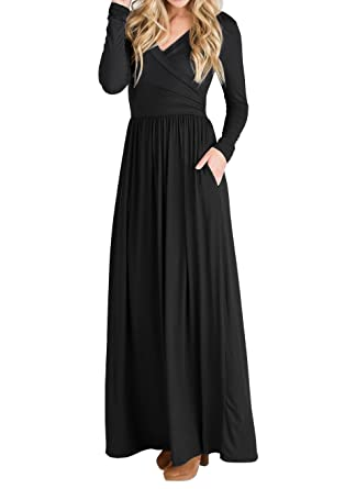 4eee2eb4d198 JOYCHEER Womens Long Sleeve Maxi Dresses Spring Formal Casual Empire Waist Wrap  Dress