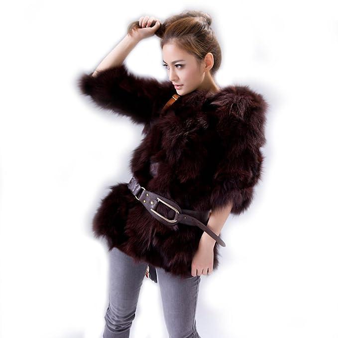 URSFUR de la mujer Fox Fur chaquetas abrigos de piel de zorro: Amazon.es: Ropa y accesorios